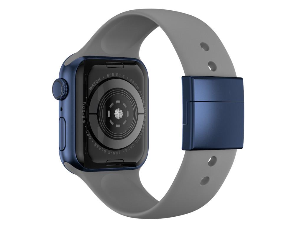 xMount@Strap Apple Watch Armband grau Aluminiumverschluß blau