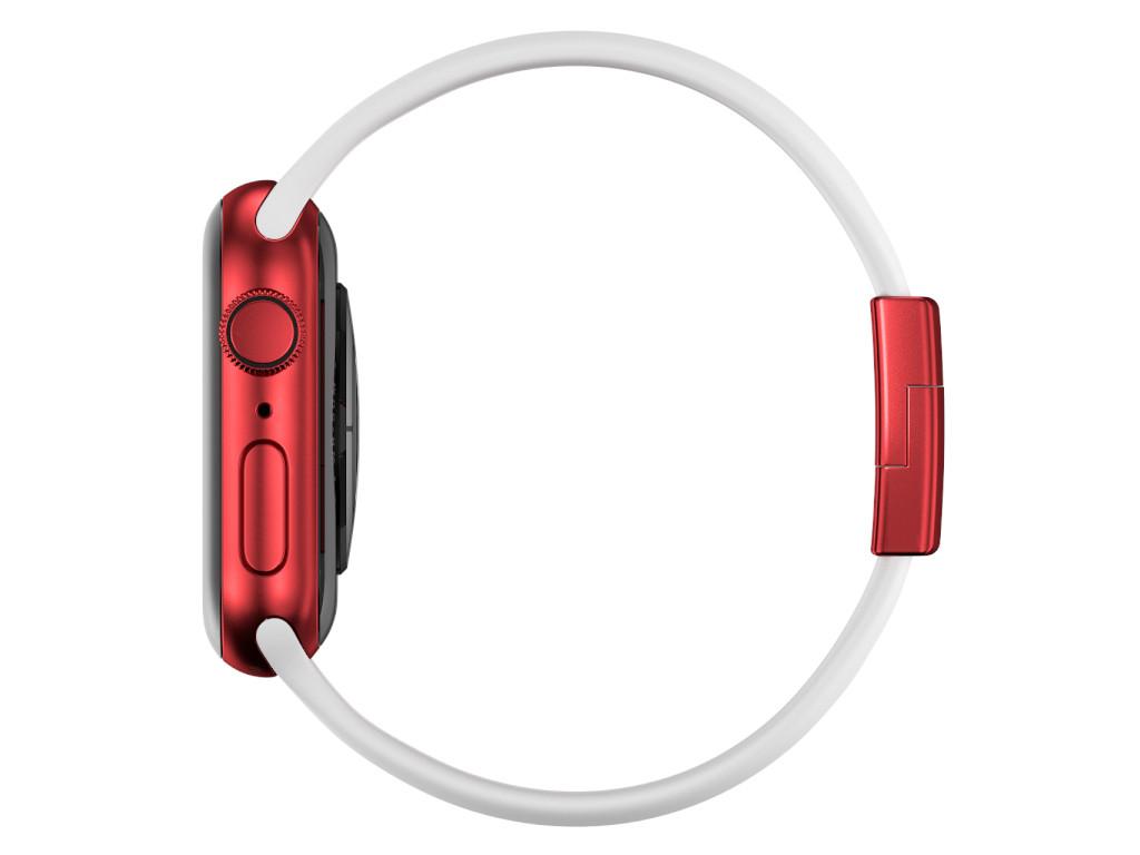 xMount@Strap Apple Watch Armband weiss Aluminiumverschluß rot
