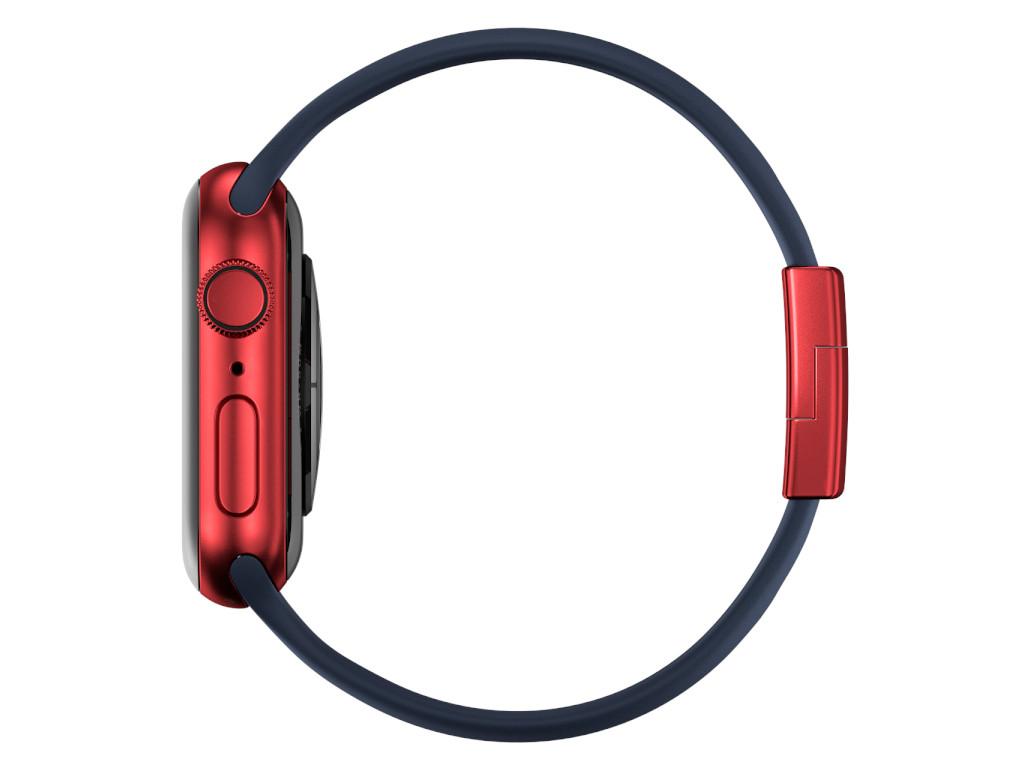 xMount@Strap Apple Watch Armband blau Aluminiumverschluß rot