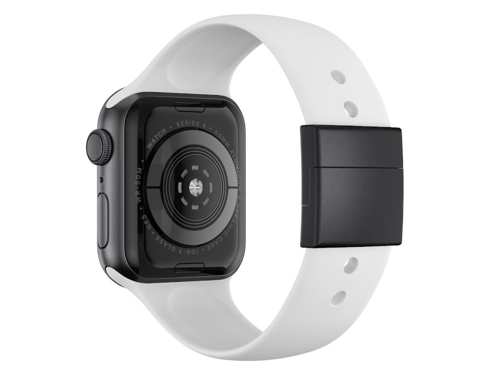 xMount@Strap Apple Watch Armband weiss Aluminiumverschluß schwarz