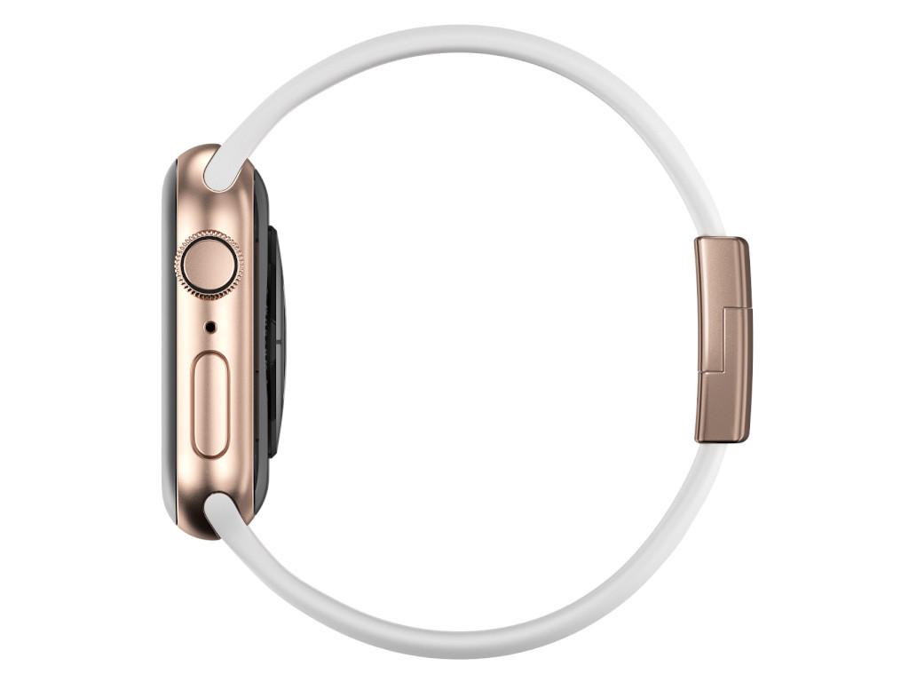 xMount@Strap Apple Watch Armband weiss Aluminiumverschluß gold