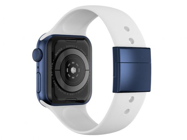 xMount@Strap Apple Watch Armband weiss Aluminiumverschluß blau