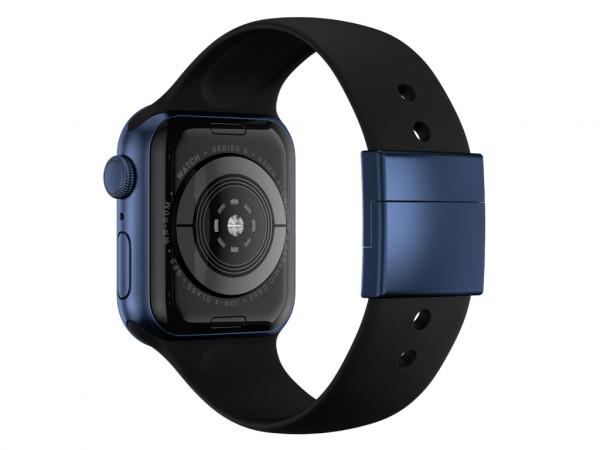 xMount@Strap Apple Watch Armband schwarz Aluminiumverschluß blau