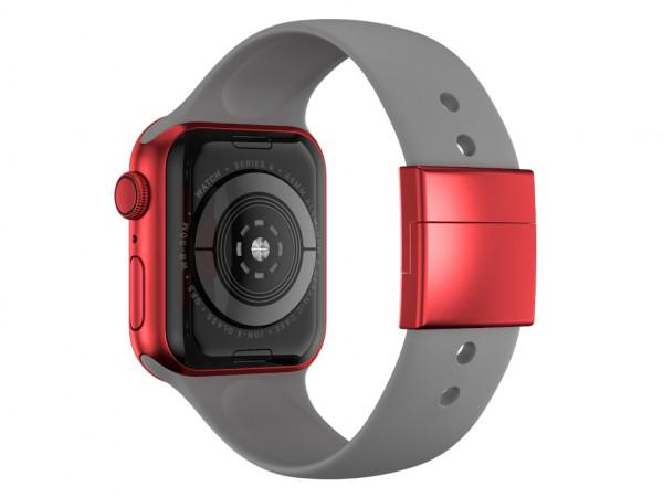 xMount@Strap Apple Watch Armband grau Aluminiumverschluß rot