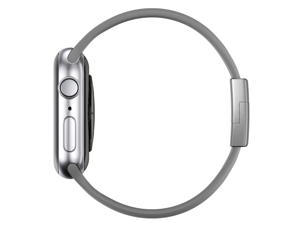 xMount@Strap Apple Watch Armband grau Aluminiumverschluß silber