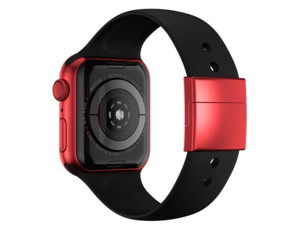 xMount@Strap Apple Watch Armband schwarz Aluminiumverschluß rot
