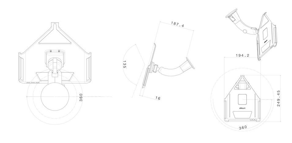 xMount@Car&Home - iPad 1 Saugnapfhalterung hält bombenfest im Auto