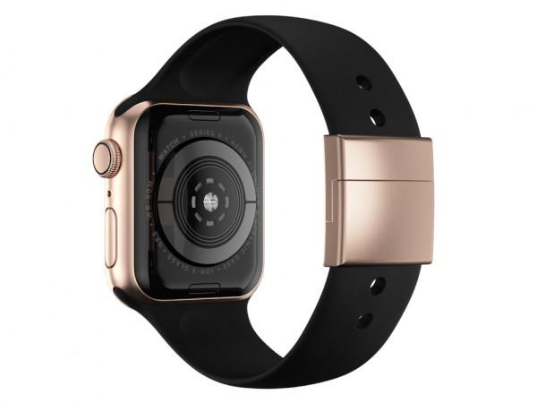 xMount@Strap Apple Watch Armband schwarz Aluminiumverschluß gold