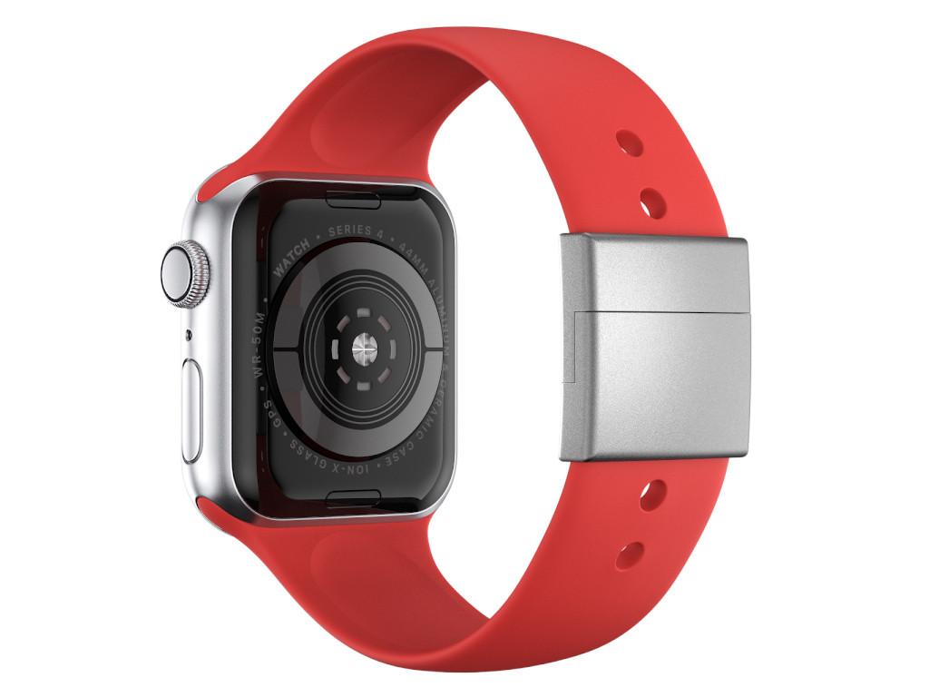 xMount@Strap Apple Watch Armband rot Aluminiumverschluß silber