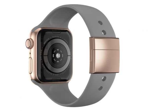 xMount@Strap Apple Watch Armband grau Aluminiumverschluß gold