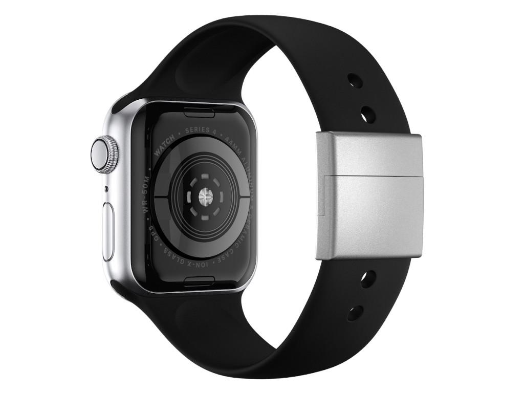xMount@Strap Apple Watch Armband schwarz Aluminiumverschluß silber