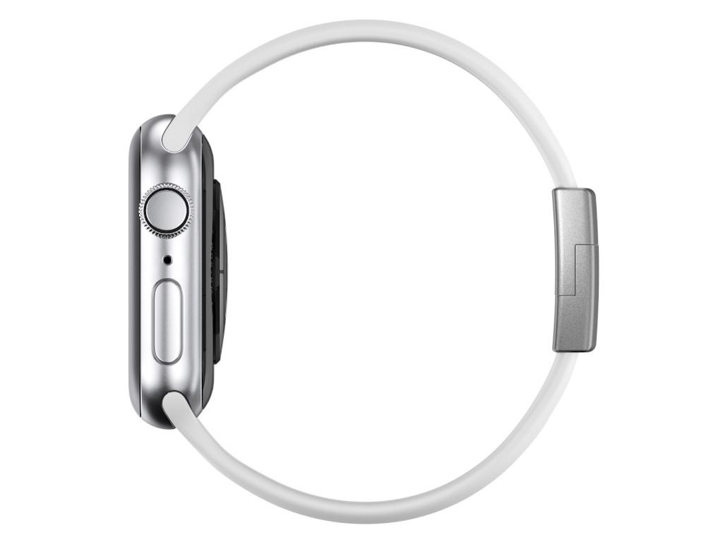 xMount@Strap Apple Watch Armband weiss Aluminiumverschluß silber
